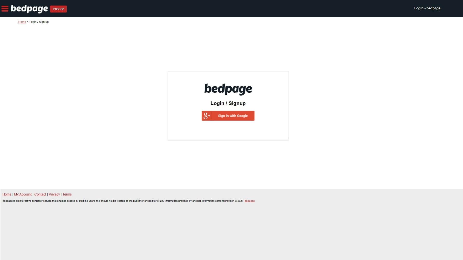 bedpage registration